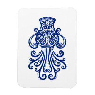 Intricate Blue Aquarius Zodiac on White Magnet