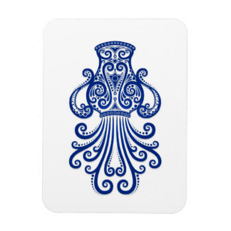 Intricate Blue Aquarius Zodiac on White Magnets