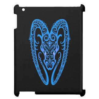 Intricate Blue Aries Zodiac on Black iPad Cases