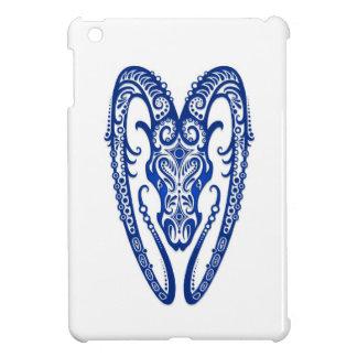 Intricate Blue Aries Zodiac on White iPad Mini Covers
