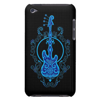Intricate Blue Bass Guitar Design on Black Barely There iPod Cover