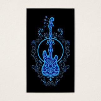 Intricate Blue Bass Guitar Design on Black Business Card