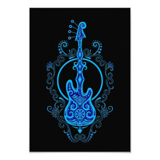 Intricate Blue Bass Guitar Design on Black Card