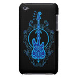 Intricate Blue Bass Guitar Design on Black iPod Touch Cover