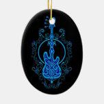 Intricate Blue Bass Guitar Design on Black Ceramic Ornament