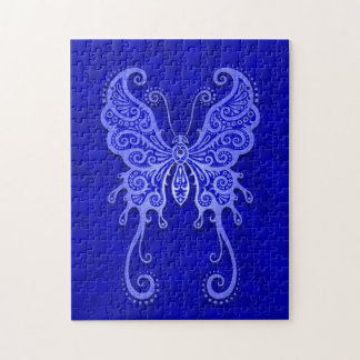 Intricate Blue Butterfly Jigsaw Puzzle