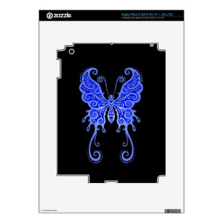Intricate Blue Butterfly on Black iPad 3 Decals
