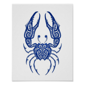 Intricate Blue Cancer Zodiac on White Poster