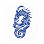 Intricate Blue Capricorn Zodiac on White Post Cards