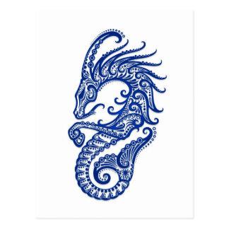 Intricate Blue Capricorn Zodiac on White Postcard