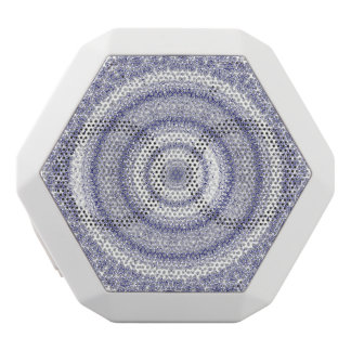 intricate blue circles pattern abstract modern fun white bluetooth speaker