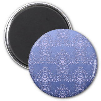 Intricate Blue Floral Damask Pattern 2 Inch Round Magnet
