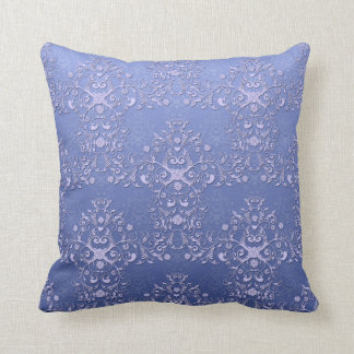 Intricate Blue Floral Damask Pattern Pillow