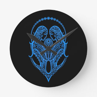 Intricate Blue Gemini Zodiac on Black Wallclocks