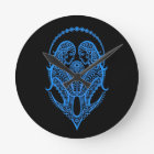 Intricate Blue Gemini Zodiac on Black Round Clock