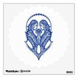 Intricate Blue Gemini Zodiac on White Wall Decal