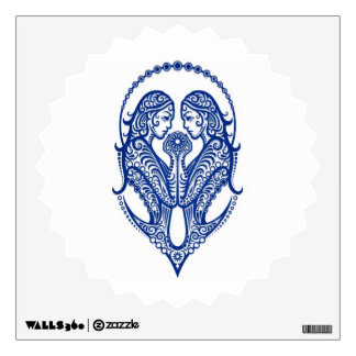 Intricate Blue Gemini Zodiac on White Wall Stickers