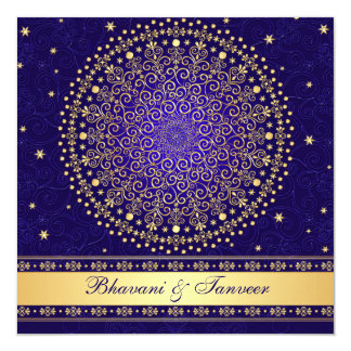 Intricate Blue, Gold Scrolls Stars Wedding Invite