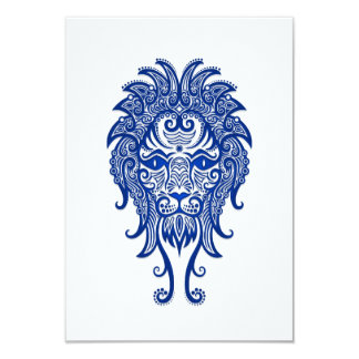 Intricate Blue Leo Zodiac on White Invites