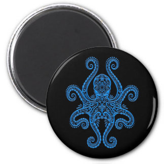 Intricate Blue Octopus on Black Magnet