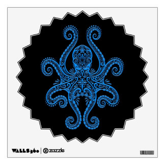 Intricate Blue Octopus on Black Wall Sticker