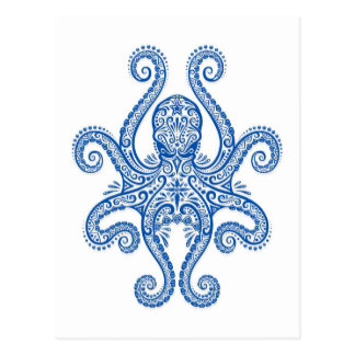 Intricate Blue Octopus Postcard