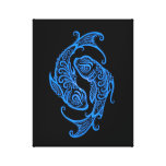 Intricate Blue Pisces Zodiac on Black Stretched Canvas Print