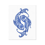 Intricate Blue Pisces Zodiac on White Stretched Canvas Prints