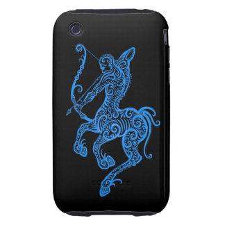 Intricate Blue Sagittarius Zodiac on Black iPhone 3 Tough Cover