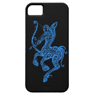 Intricate Blue Sagittarius Zodiac on Black iPhone SE/5/5s Case