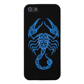 Intricate Blue Scorpio Zodiac on Black Cover For iPhone SE/5/5s