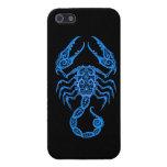 Intricate Blue Scorpio Zodiac on Black Covers For iPhone 5