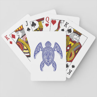 Intricate Blue Sea Turtle on White Playing Cards