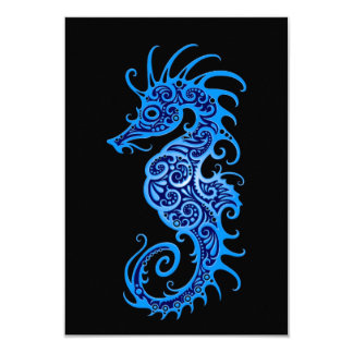 Intricate Blue Seahorse Design on Black 3.5x5 Paper Invitation Card