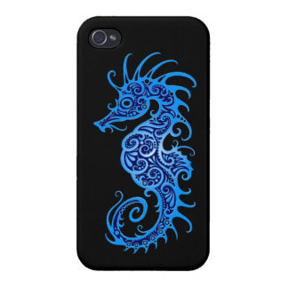Intricate Blue Seahorse Design on Black iPhone 4 Case