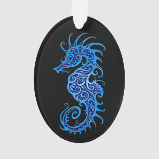 Intricate Blue Seahorse Design on Black Ornament