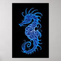 Intricate Blue Seahorse Design on Black Poster