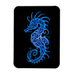 Intricate Blue Seahorse Design on Black Rectangular Magnets