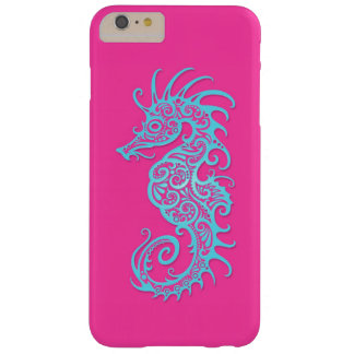 Intricate Blue Seahorse Design on Pink Barely There iPhone 6 Plus Case