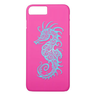 Intricate Blue Seahorse Design on Pink iPhone 7 Plus Case