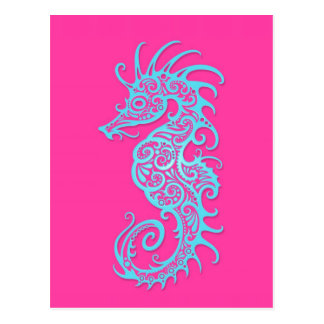 Intricate Blue Seahorse Design on Pink Postcard