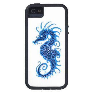 Intricate Blue Seahorse Design on White iPhone 5 Cover