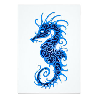 Intricate Blue Seahorse Design on White 3.5x5 Paper Invitation Card
