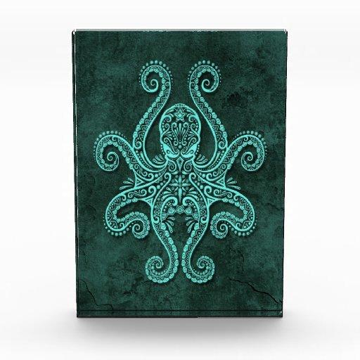 Intricate Blue Stone Octopus Award