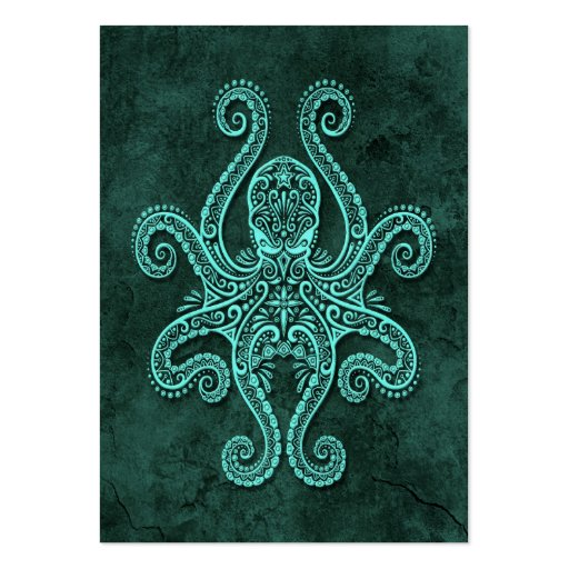 Intricate Blue Stone Octopus Large Business Cards (Pack Of 100)