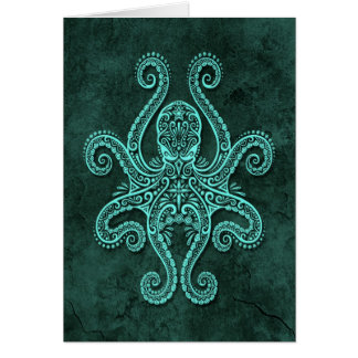 Intricate Blue Stone Octopus Greeting Card