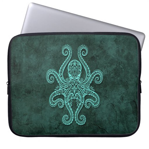 Intricate Blue Stone Octopus Computer Sleeves