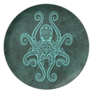 Intricate Blue Stone Octopus Melamine Plate