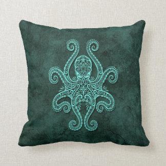 Intricate Blue Stone Octopus Throw Pillow