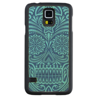 Intricate Blue Sugar Skull Carved Maple Galaxy S5 Slim Case